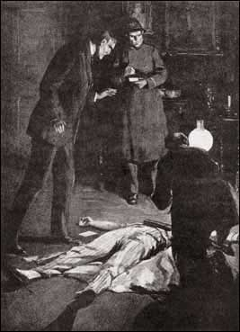 The doctor knelt beside him and held down the hand lamp which had stood on the table