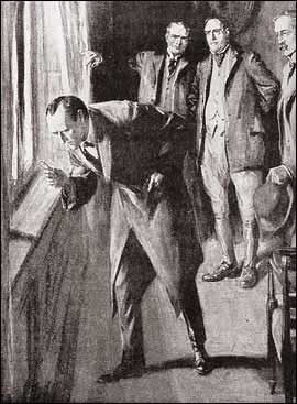 Holmes had gone to the window and was examining with his lens the blood mark on the sill