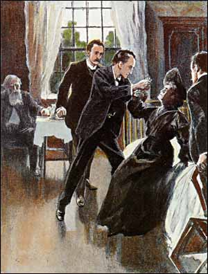 HOLMES HAD BOUNDED ACROSS THE ROOM AND HAD WRENCHED A SMALL PHIAL FROM HER HAND.