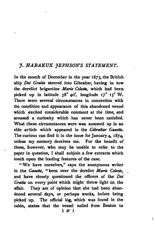 F. Habakuk Jephson's Statement