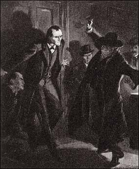 BEFORE OUR PRISONER HAD RECOVERED HIS BALANCE THE DOOR WAS SHUT AND HOLMES STANDING WITH HIS BACK AGAINST IT.