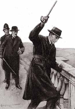 WITH HIS CANE HE STRUCK THE LEDGE SEVERAL TIMES WITHOUT LEAVING A MARK.
