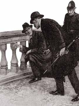 IT HAD HARDLY GONE BEFORE HOLMES WAS KNEELING BESIDE THE STONEWORK.